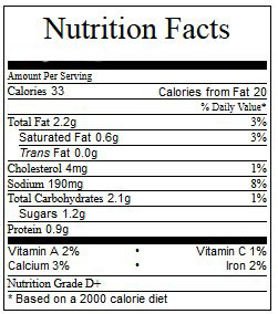 ranch nutritional info