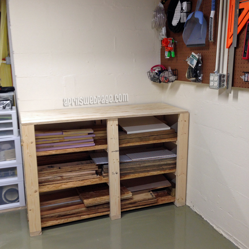 wood storage work bench