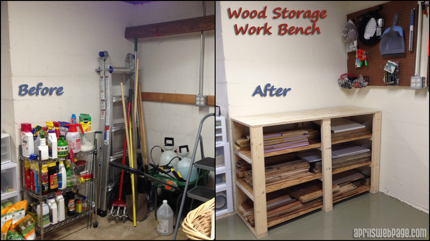 wood storage work bench: before & after
