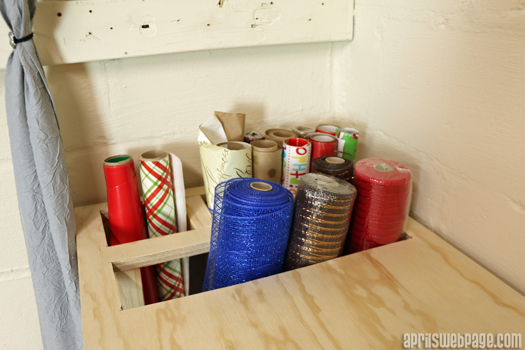 gift wrap storage and deco mesh storage