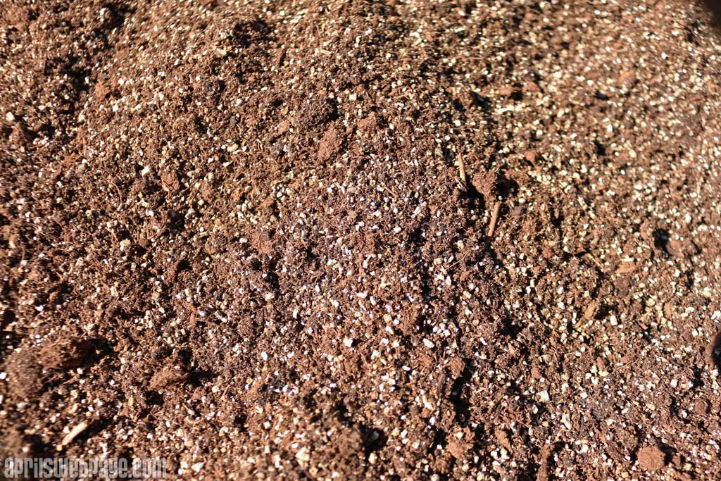 Mel's Mix: peat moss, vermiculite, and compost