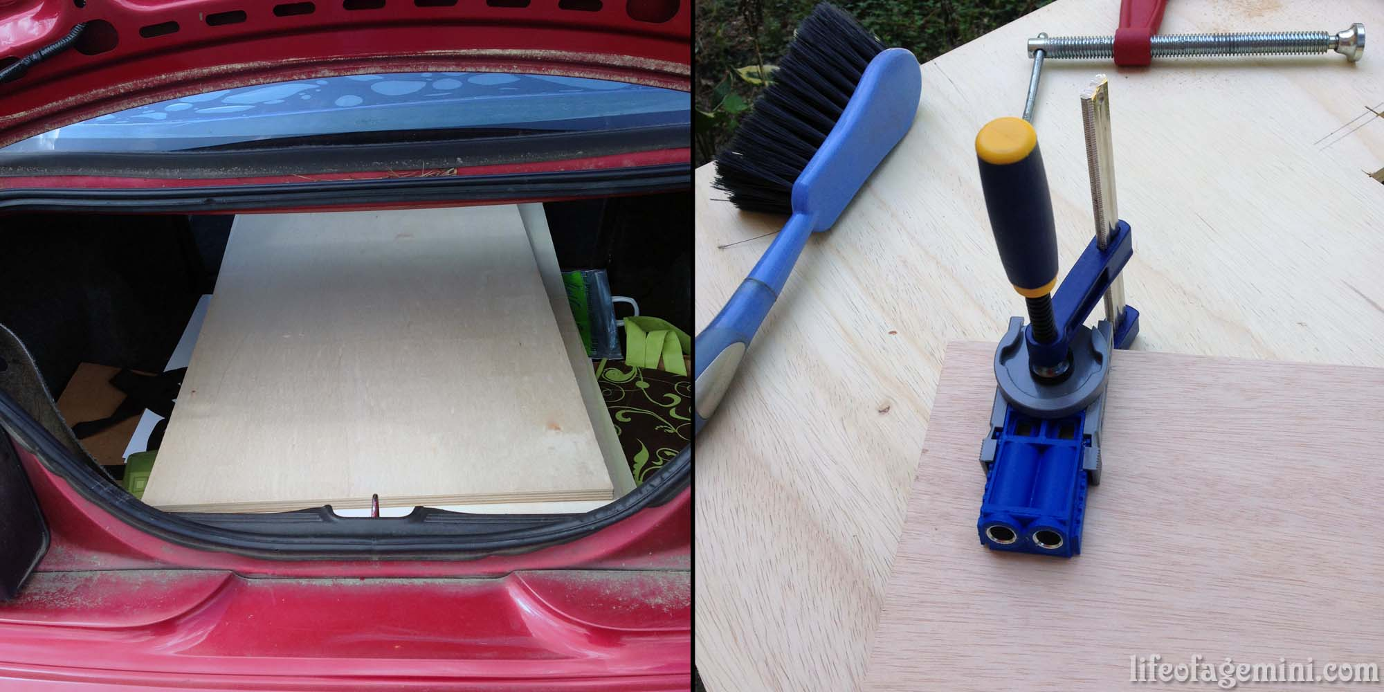 plywood and Kreg Jig tool