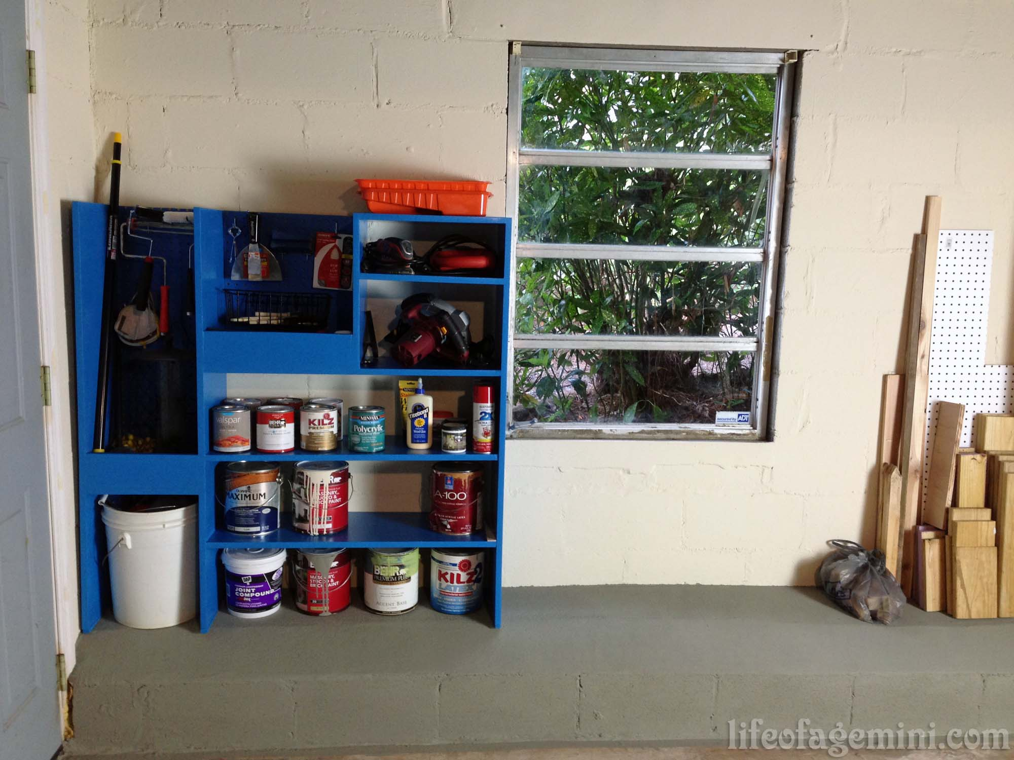 DIY paint storage shelving unit