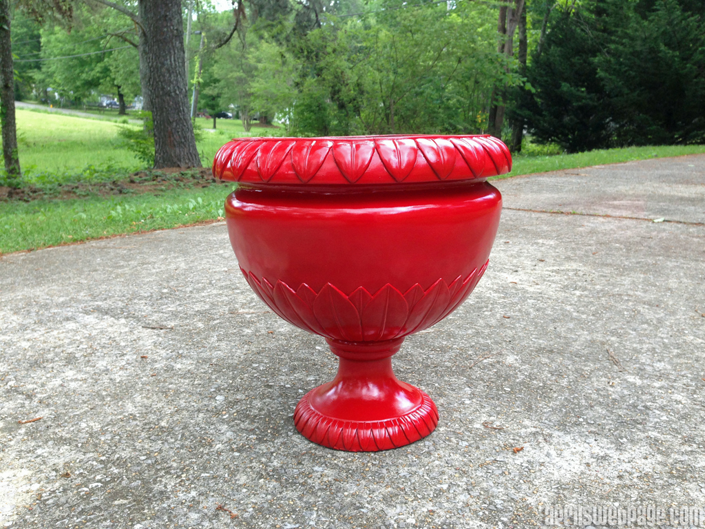 planter makeover in apple red